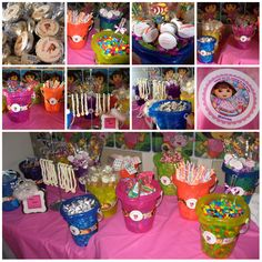 """""""Glass Free"""" Dora Theme Candy Buffet for a 3rd Birthday Party. www.sweetchickscandy.com"""