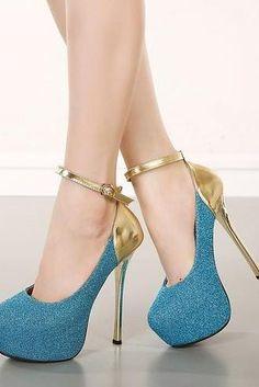 Sexy Metallic Color Block High Heels Shoes
