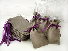 SET OF 25 Eco Rustic Linen Wedding Favor Bag or by BrightBride, $50.00