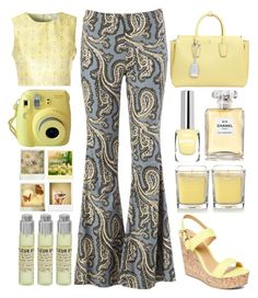 """""""yellow paisley pants"""" by juliehalloran ❤ liked on Polyvore featuring Free People, Glamorous, Polaroid, Le Labo, MCM, Chanel and Charles Albert"""