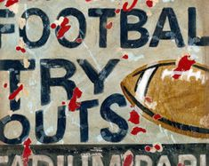 Football Try Outs vintage look sports art decor for boys rooms man caves fan and nursery by Aaron Christensen- multiple sizes available Kids Canvas Art, Canvas Art Prints, Canvas Wall Art, Football Scoreboard, Football Decor, Navy Football, All Poster, Poster Prints, Posters