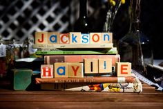 Her name in vintage blocks on the dessert table on top of some of our vintage book collection. Of which of course, there are owl books. Oh yes.