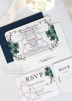 Celtic Style Irish Invitation with shamrock by cordially on Etsy, $3.00