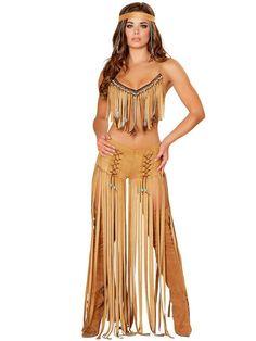 fantasia de índia americana de blusa e calça com franjas
