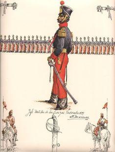 La caballeria vestia de gala estos uniformes pero para diario y en campaña usaba los que se muestran abajo