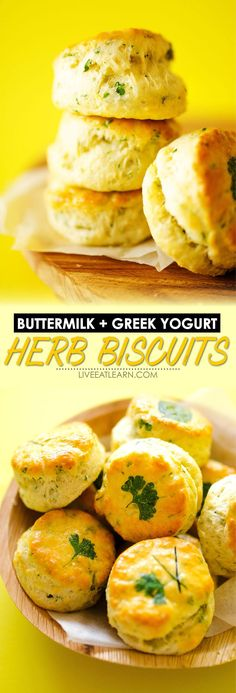 A delicious twist on homemade buttermilk biscuits. This Herby Greek Yogurt Biscuits recipe is ultra-flaky with unique and delicious laminated herbs on top. They're a healthy dinner bread side dish idea that are easy to make and full of fun flavor. // Live Eat Learn