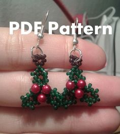 PDF-file Beading Pattern Holly Christmas Earrings PDF-file Beading Tutorial by HoneyBeads1