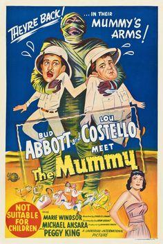 Abbott and Costello Meet the Mummy (1955) Drive Movie Poster, Old Movie Posters, Old Movies, Vintage Movies, Love Jones Movie, Michael Ansara, Marie Windsor, Bud Abbott, Mummy Movie