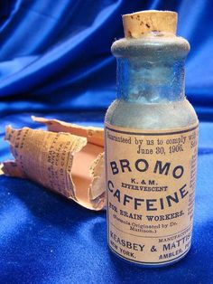 "Wax-sealed, antique labeled medicine bottle of ""Bromo Caffeine"" by Keasbey & Mattison, dated for ""Brain Workers"" . Old Medicine Bottles, Antique Bottles, Vintage Bottles, Vintage Tins, Bottles And Jars, Antique Glass, Glass Bottles, Apothecary Bottles, Vintage Medical"