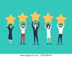 Five stars rating flat style vector concept. People are holding stars over the heads. Feedback consumer - Buy this stock vector and explore similar vectors at Adobe Stock Social Media Trends, Social Media Plattformen, Social Media Marketing Agency, Marketing Books, Make Business, Business Travel, Corporate Business, Amélioration Continue, Employee Rewards