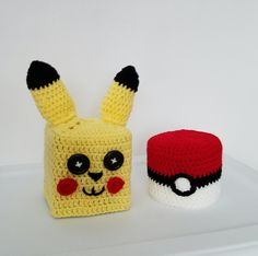 Crochet Pokemon Go Tissue box and Toilet Paper Roll Cozy set, Pikachu and Pokeball by TampaBayCrochet on Etsy