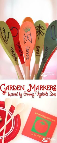 DIY Garden Markers Inspired by Lois Ehlert's Growing Vegetable Soup - Get ready to start your seeds with your kids this Spring by reading Lois Ehlert's Growing Garden boxed set and create your own DIY, permanent Garden Markers! They make for great Mother's Day gifts too | Gardening | DIY | Crafts for Kids | Kids Activities | Children's Books | Spring | Gardening with Kids | Mother's Day | Gift Ideas | #springvegetablegardening