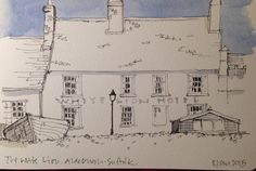 Line &  (minimal) watercolour sketch in my Moleskine : the White Lion at Aldeburgh
