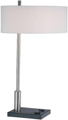 1 Light Table Lamp Polished Steel Data Port Outlets