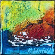 20x20 cm - Art by Lønfeldt - original abstract painting, modern textured art, colorful