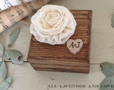 Items similar to Ring Bearer Box With personalized heart and Ivory Flower, with Ring pillow, wedding ring box, proposal box on Etsy Wedding Crafts, Wedding Stuff, Wedding Ideas, Wooden Ring Box, Ring Bearer Box, Personalised Box, Wood Rings, Future, Unique Jewelry