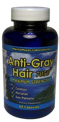 - Anti Gray Hair Consists of Catalase. The possible lack of catalase is believed to initiate the squence of events leading to grey hair. - Anti Gray Hair Props up bodys capability to produce melanin pigment. - Anti Gray Hair 7050 Activly works to reboot dormant or near dead pigments cell through the body to assist to revive grey hair to its original hair color.