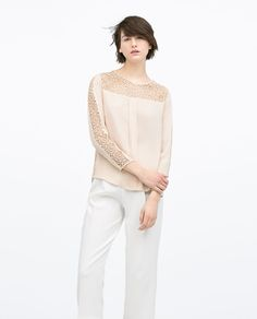 Image 1 of COMBINED GUIPURE LACE TOP from Zara - another pretty lacy top for the eveningsto wear with denim jacket and wedges