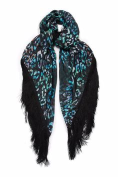 Large woven leopard print shawl with silk fringe.   Printed Fringe Scarf by Athena Procopiou. Accessories - Scarves & Wraps Vancouver, Canada