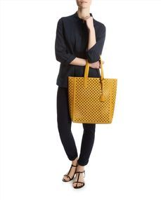 Stone Laser-Cut Leather Tote