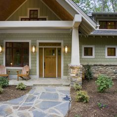 Craftsman Exterior Trim Design, Pictures, Remodel, Decor and Ideas - page 3   Like the hardy plank color and ceiling of porch