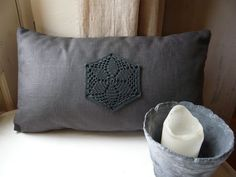 lovely, dark grey, crochet motif cushion