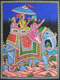 Princely Procession (Print on Cloth with Sequin Work - Unframed)