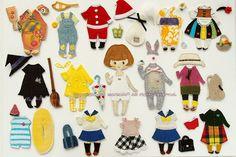 【布きせかえ】12か月+アルファのワードローブ一覧。 2016.8/2-7 ギャラリーパウゼ「あそび展」出展作品より。 (20名のクリエイターによるグループ展です。遊びにきてね。) http://marmelo.jp