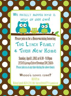 What To Say On A Housewarming Invitation | Custom Owl Housewarming Invitations by TheLittleHoots on Etsy
