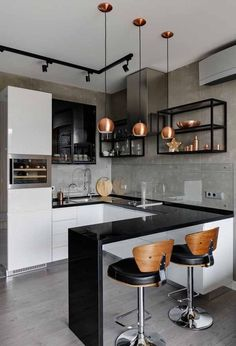 48 + Stunning Apartment Kitchen Decorating – Home By X – Interieur: Küche & Esszimmer Kitchen Decorating, Home Decor Kitchen, New Kitchen, Kitchen Ideas, Industrial Decorating, Awesome Kitchen, Kitchen Trends, Kitchen Layout, Rustic Kitchen