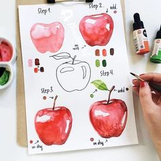 Watercolor Pine Tree Painting tutorial with step by step process photos More Details Janene Tindall Watercolor Paintings For Beginners, Watercolor Art Lessons, Watercolor Fruit, Watercolour Tutorials, Watercolor Drawing, Watercolor Illustration, Painting & Drawing, How To Watercolor, Watercolor Beginner
