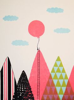 Balloon in the Sky 9x12 Original Screenprint by parantime on Etsy, $20.00