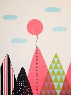 Ballon dans le ciel, sérigraphie originale de 9 x 12