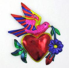 "Mexican Folk Art ""Heart w Dove"" Sacred Heart Milagro Tin Ornament EX Voto"