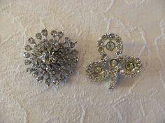 2 Vintage Rhinestone Clover & Sunburst Brooches Brooch Pins Wedding Bouquet