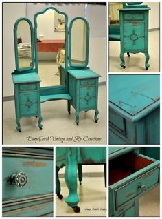 Vintage vanity by Deep South Re-Creations. Annie Sloan Chalk Paint, Florence. Making forgotten furniture unforgettable. Visit us at... www.facebook.com/deepsouthrecreations. Chalk paint, vintage, tri-mirror vanity, shabby chic, distressed, painted furniture, aqua vanity, turquoise vanity. by marcia