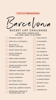 Barcelona bucket list travel to italy, us travel, spain travel, travel list, travel Adventure Quotes Wanderlust, Adventure Travel, Travel Checklist, Travel List, Travel Goals, List Challenges, Voyage Europe, Barcelona Travel, Instagram Story Template