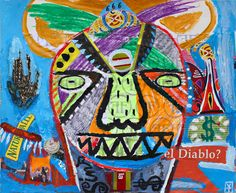 Victor Tricar- El diabolo? / Acrylic/oil pastel and collage on paper -2015