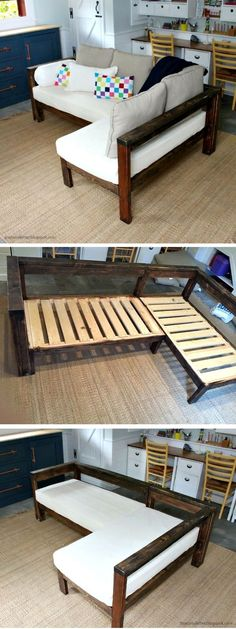 20 Easy DIY Wood Projects You Can Make Even from Scrap 20 Crafty DIY Projects That You Can Easily Make – how to make a small sectional from DIY Pallet Projects Easy and Stunning Easy and Cheap DIY Pro 2x4 Wood Projects, Diy Projects Cans, Home Projects, How To Projects, Diy Bedroom Projects, Apartment Projects, Woodworking Projects Diy, Woodworking Furniture, Easy Diy Projects