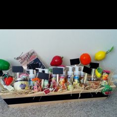 Fruit inspired gift basket with a chalk board flower box to contain all the goodies from Bath & Body Works!!