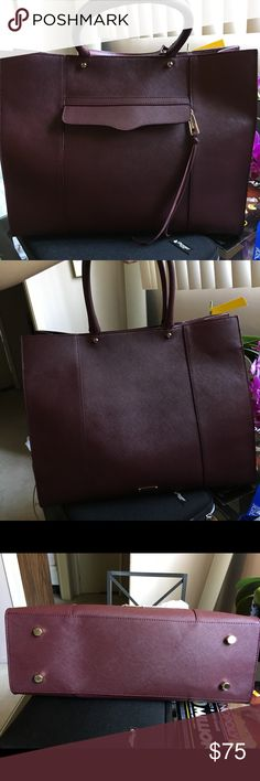 """Rebecca Minkoff large Mab Tote MAB tote in black cherry saffiano leather. Magnetic self closure, cell phone pocket, 13.5"""" x 17"""" x 5.5"""", with 10.25"""" drop. Excellent used condition, no flaws. Rebecca Minkoff Bags Totes"""