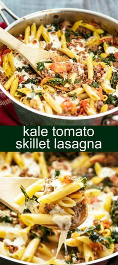 Kale Tomato Skillet Lasagna {A Quick Weeknight Dinner} skillet/ lasagna/ kale Take the stress out of dinner with this Kale Tomato Skillet Lasagna. With fresh mozzarella cheese, kale, tomatoes and pasta it will be a family favorite. via @tastesoflizzyt