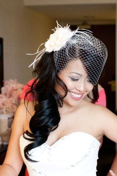 Hair half up with birdcage veil