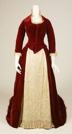 "Circa 1884 evening dress, American. Label on belt:  ""A.Monaghan/6 Mortimer St/Rochester, N.Y."".  Via MMA."