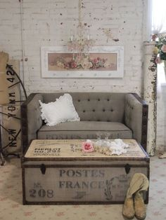 Shabby Chic Trunk - Foter - Use printed white burlap or linen cloth to cover