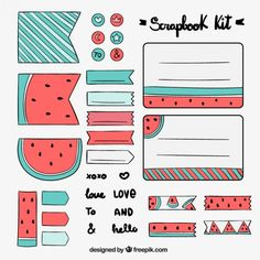 Hand drawn scrapbook kit with watermelon drawings Free Vector Bullet Journal School, Bullet Journal Banner, Bullet Journal Writing, Bullet Journal Aesthetic, Bullet Journal Ideas Pages, Bullet Journal Inspiration, Journal Stickers, Printable Planner Stickers, Kalender Design