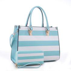 Designer Inspired Spring Collection Striped Handbag & Wallet Set – Handbag-Addict.com