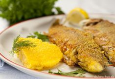 Vyprážané pstruhy Polenta, Tasty, Fish, Meat, Chicken, Recipes, Caldo De Pollo, Seafood, Side Dishes