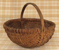 Antique Mid 19th Century Pennsylvania Hickory Splint Basket