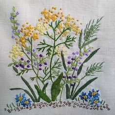 Wonderful Ribbon Embroidery Flowers by Hand Ideas. Enchanting Ribbon Embroidery Flowers by Hand Ideas. Herb Embroidery, Cushion Embroidery, Embroidery Flowers Pattern, Japanese Embroidery, Hand Embroidery Stitches, Silk Ribbon Embroidery, Hand Embroidery Designs, Cross Stitch Embroidery, Bordado Floral